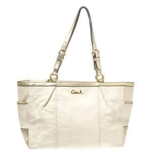 Coach Cream White/Metallic Gold Leather Gallery Lurex Tote