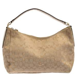 Coach Beige Signature Canvas and Leather East West Celeste Hobo