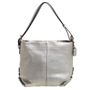 Coach Metallic Silver Leather Duffle Hobo