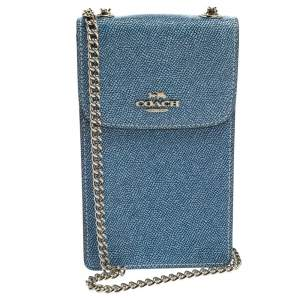 Coach Blue Textured Leather Crossbody Phone Pouch
