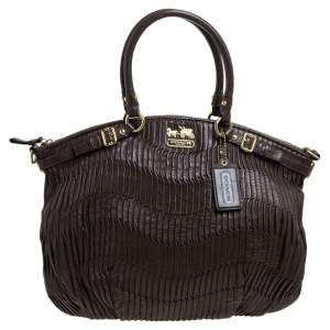 Coach Dark Brown Gathered Leather Lindsey Satchel