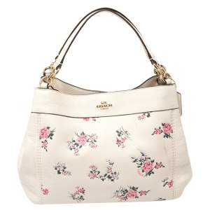 Coach Ivory Floral Print Leather Lexy Shoulder Bag