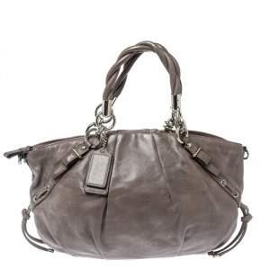 Coach Grey Pleated Leather Sophia Satchel