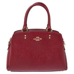 Coach Red Leather Mini Lillie Carryall Satchel