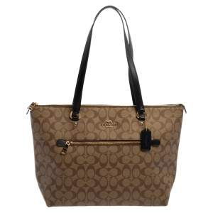 Coach  Beige/Brown Coated Signature Canvas Gallery Tote