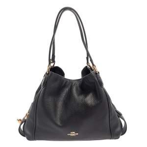 Coach Black Leather Edie 31 Shoulder Bag