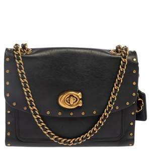 Coach Black Leather Parker Studded Crossbody Bag
