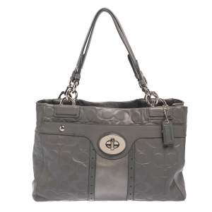 Coach Grey Signature Embossed Leather Penelope Carryall Tote