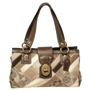 Coach Brown/Beige Fabric and Leather Patchwork Turnlock Tote