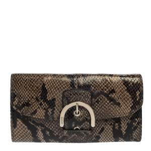 Coach Brown/Black Python Embossed Leather Soho Continental Wallet