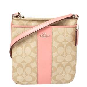Coach Pink/Beige Signature Coated Canvas and Leather Crossbody Bag