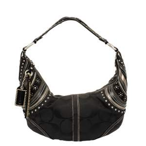 Coach Black Signature Canvas and Leather Soho Studded Hobo