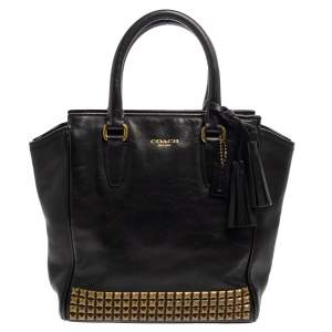 Coach Black Leather Tanner Stud Tote