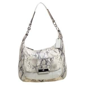 Coach White Shimmer Python Effect and Leather Kristin Hobo