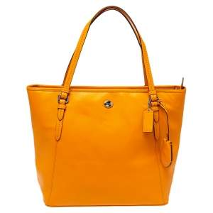 Coach Orange Leather Peyton Zip Tote