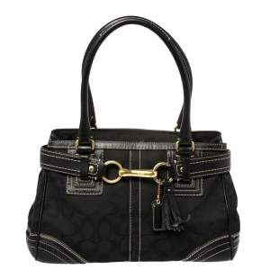 Coach Black Signature Canvas and Leather Hampton Tote