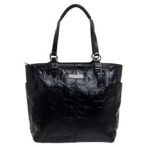 حقيبة يد كوتش غاليرى جلد لامع منقوش شهير سوداء