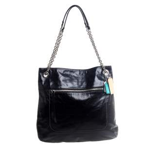 Coach Black Crackled Leather Chain Tote