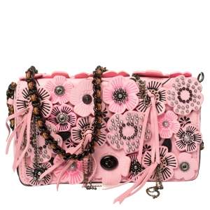 Coach Pink Leather Dinky Wild Tea Crossbody Bag
