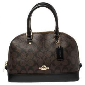 Coach Brown/Black Signature Coated Canvas And Leather Mini Sierra Satchel