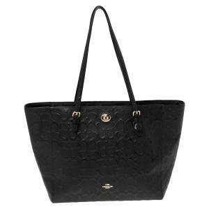 Coach Black Signature Embossed Leather Turnlock Tote