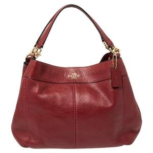 Coach Burnt Red Pebbled Leather Small Lexy Shoulder Bag