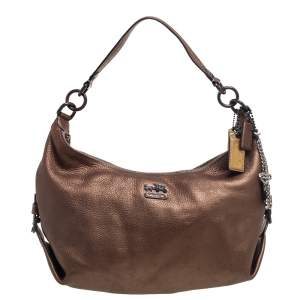 Coach Metallic Brown Leather Hailey Hobo