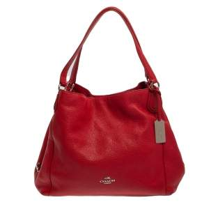 Coach Red Pebbled Leather Edie 31 Shoulder Bag