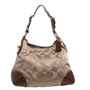 Coach Brown Monogram Canvas and Leather Peyton Hobo