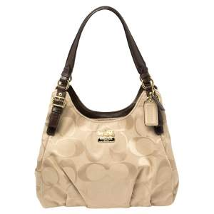 Coach Beige/Brown Signature Canvas and Leather Madison Maggie Hobo