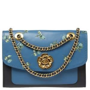 Coach Blue/Black Floral Print Leather Parker Shoulder Bag