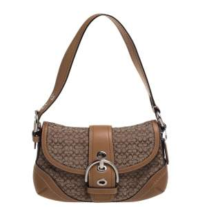 Coach Brown Signature Canvas and Leather Buckle Shoulder Bag