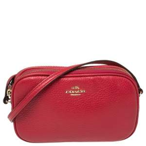 Coach Red Leather Double Zip Camera Crossbody Bag
