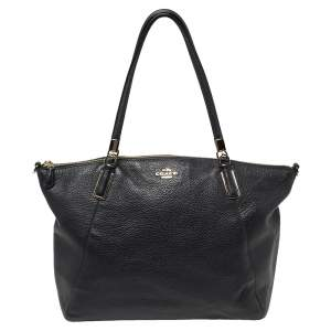 Coach Navy Blue Pebbled Leather Kelsey Satchel