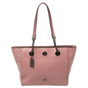 Coach Old Rose Pebbled Leather Turn Lock Chain Tote