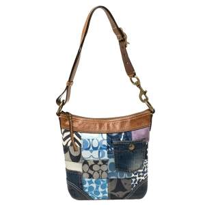 Coach Multicolor Fabric and Leather Patchwork Bucket Hobo