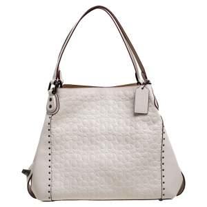 Coach Cream Signature Embossed Leather Edie 31 Shoulder Bag