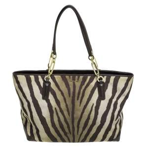 Coach Green/Brown Zebra Print Canvas and Leather Madison Tote