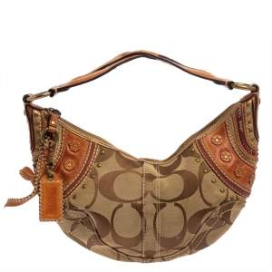 Coach Beige/Brown Signature Canvas and Leather Hobo