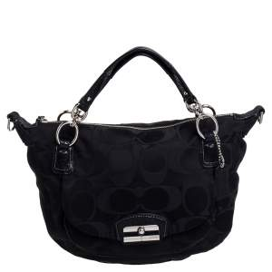 Coach Black Signature Fabric Kristin Hobo