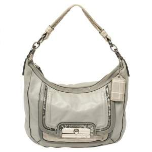 Coach Grey Python and Croc Embossed and Leather Kristin Hobo