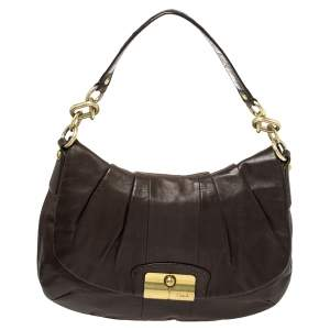 Coach Dark Brown Leather Kristin Hobo