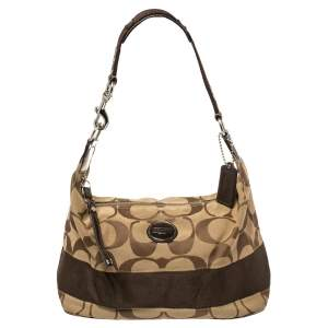 Coach Brown Monogram Canvas and Patent Leather Hobo