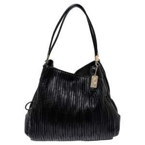 Coach Black Pleated Leather Edie 31 Shoulder Bag