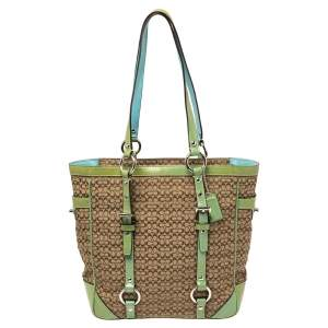 Coach Brown Signature Canvas and Green Patent Leather Tote