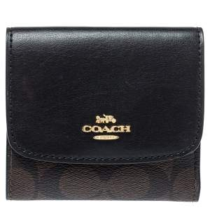 Coach Brown/Black Coated Canvas and Leather Trifold Wallet