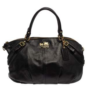 Coach Black Leather Large Madison Sophia Satchel