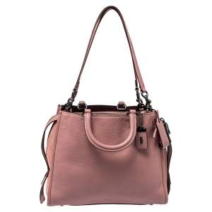 Coach Pink Pebble Leather and Suede Rogue Tote