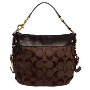 Coach Brown Signature Canvas and Leather Zoe Hobo