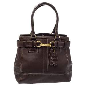 Coach Chocolate Brown Leather Hampton Tote